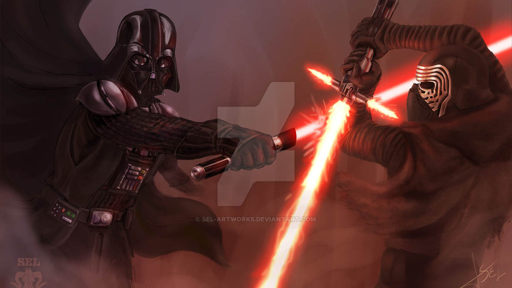 darth_vader_vs_kylo_ren_by_sel_artworks-d9lwad3